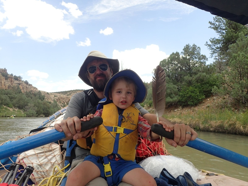 Brian and son Kai rafting