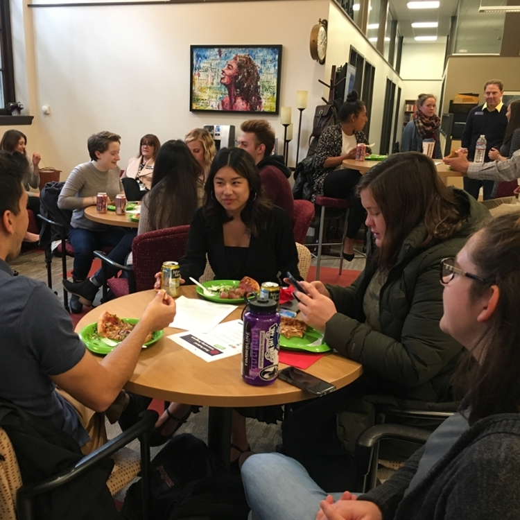 Student luncheon in the career development office