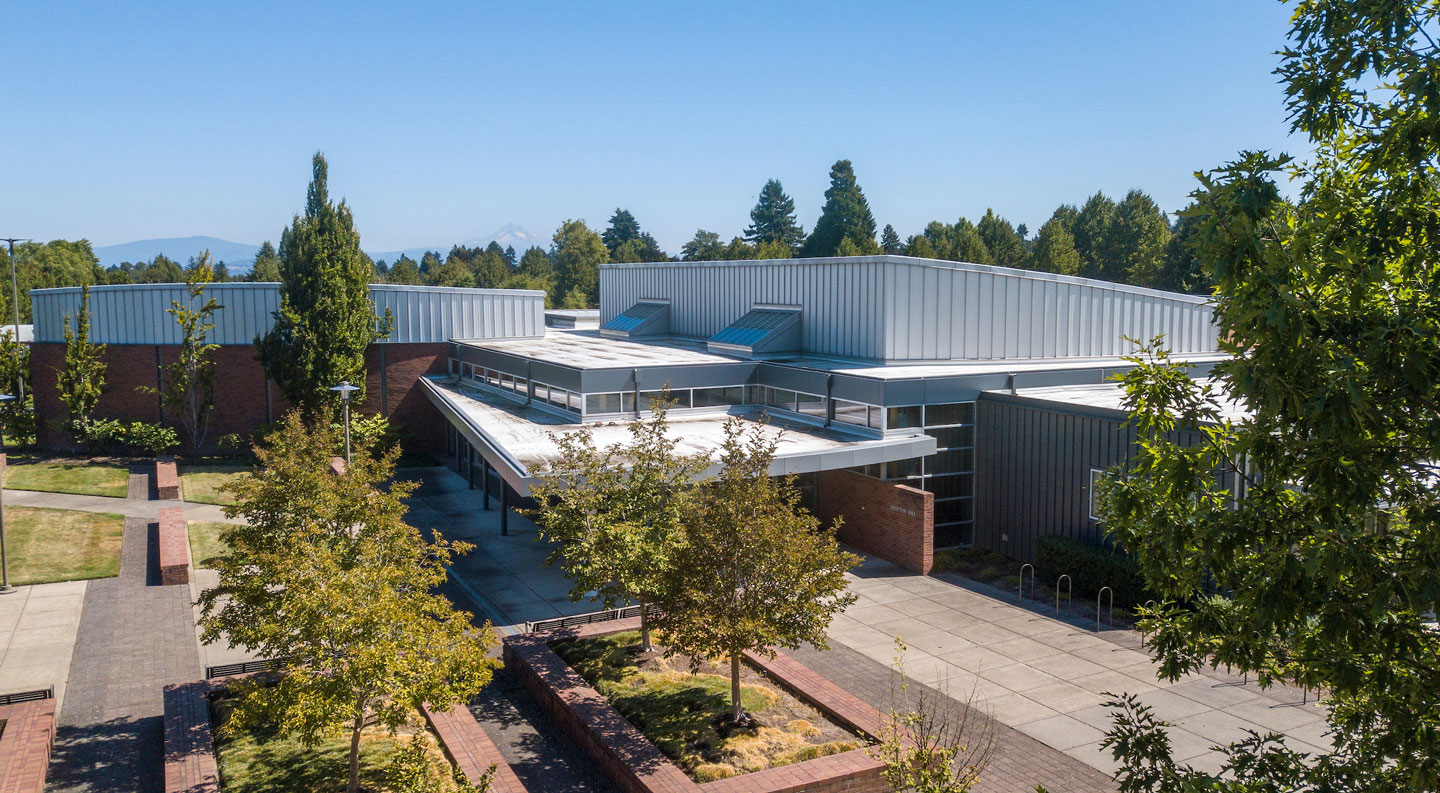 aerial view of the new Portland campus
