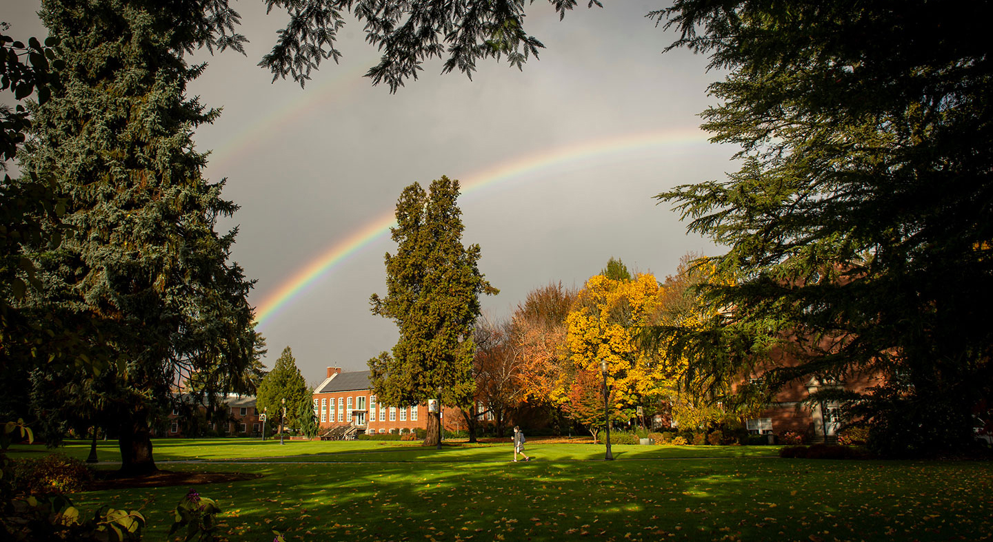 rainbow over the academic quad