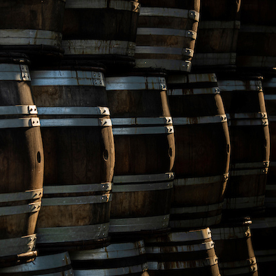 wine barrels at winery in Carlton